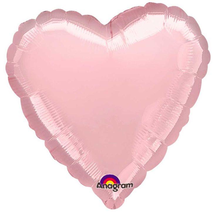 Folienballon Herz, ca. 45 cm, rosa metallic, Helium geeignet, Anagram