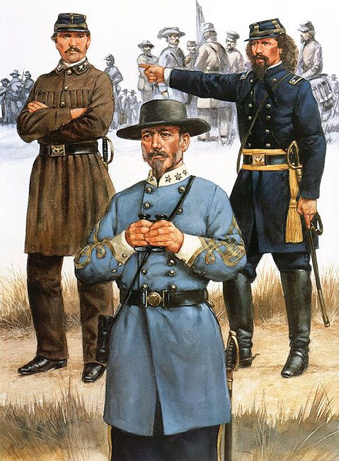 Confederate generals of the West - Simon B Buckner, Joseph E Johnston and Earl Van Dorn.