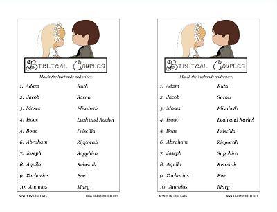 Biblical Couples Matching Game Printable