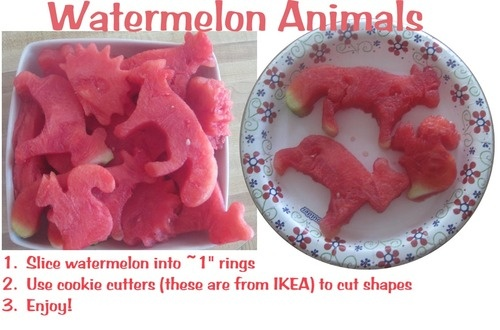 Food Craft:  Watermelon Animals.  Use cookie cutters to create fun watermelon shapes.  Shown here are some I did for an animal-themed party (fox, bear, squirrel, hedgehog).  Photo is mine. #sugarblisters (@Candysores)