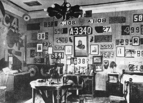 "Manfred Von Richthofen's Bedroom- displaying ""trophies"" taken from the planes he downed all over the walls"