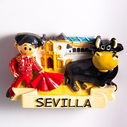 Resin Fridge Magnet: Spain. Seville. Torero and Bull at Plaza de Toros de la Real Maestranza