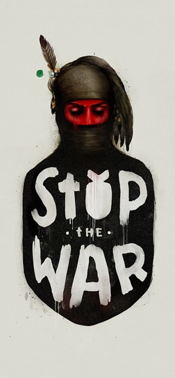 """Stop the War"" [click on this image to find an analysis and documentary that explores non-binary gender traditions or ""two-spirit people"" in the indigenous cultures of North America]"