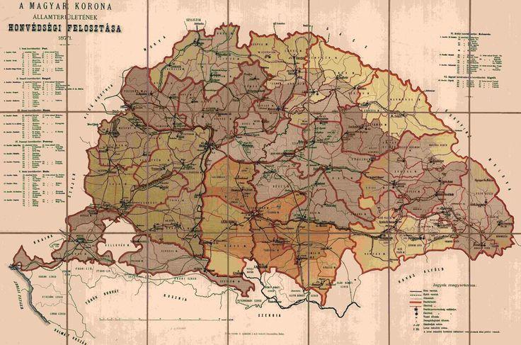 A Magyar Korona államterületének honvédségi felosztása Buda 1871Ny. M. Kir. telekzeti Kőnyomda