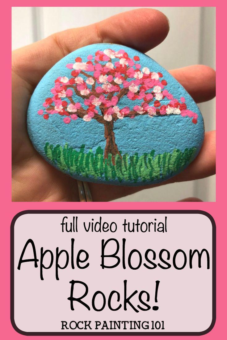 Apple Blossom Trees Dot Painting On Rocks Rock Painting 101 Painted Rocks Rock Painting Flowers Dot Painting On Rocks