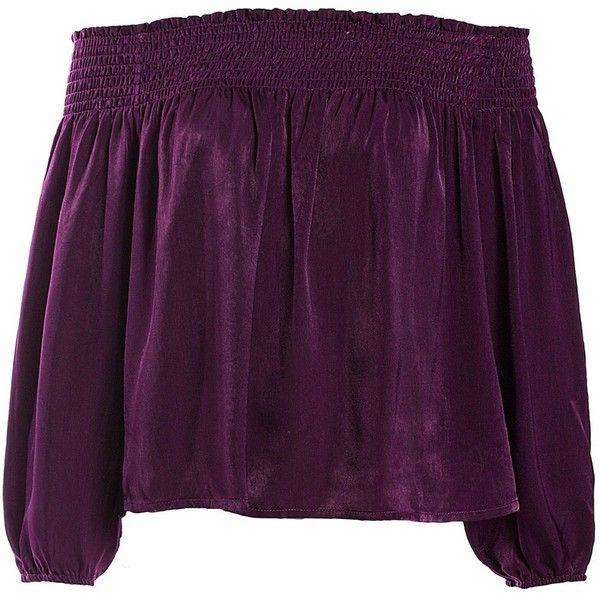 Sans Souci Violet satin smocked off shoulder top (£27) ❤ liked on Polyvore featuring tops, blouses, violet, satin blouse, smocked top, smocked blouse, purple top and purple off shoulder top