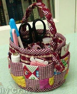 There is no pattern - but I want to try this anyways for a yarn/project basket! :D I know they have baskets at the dollar tree, wonder if they have a big one.... hrmmm!!! Idea for sure!