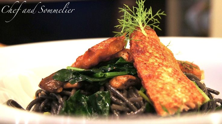 Chef and Sommelier: Salmon Belly Squid Ink Spaghetti with Sautéed Mushroom and Spinach