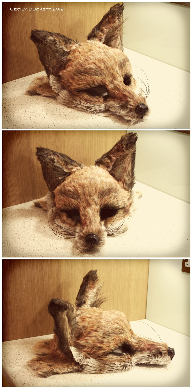 Completely custom made fox mask, with moulded base, hand painted faux fur and handmade nose. Cecily Duckett, 2012.