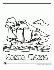 santa maria columbus colori 231x300 columbus day coloring pages