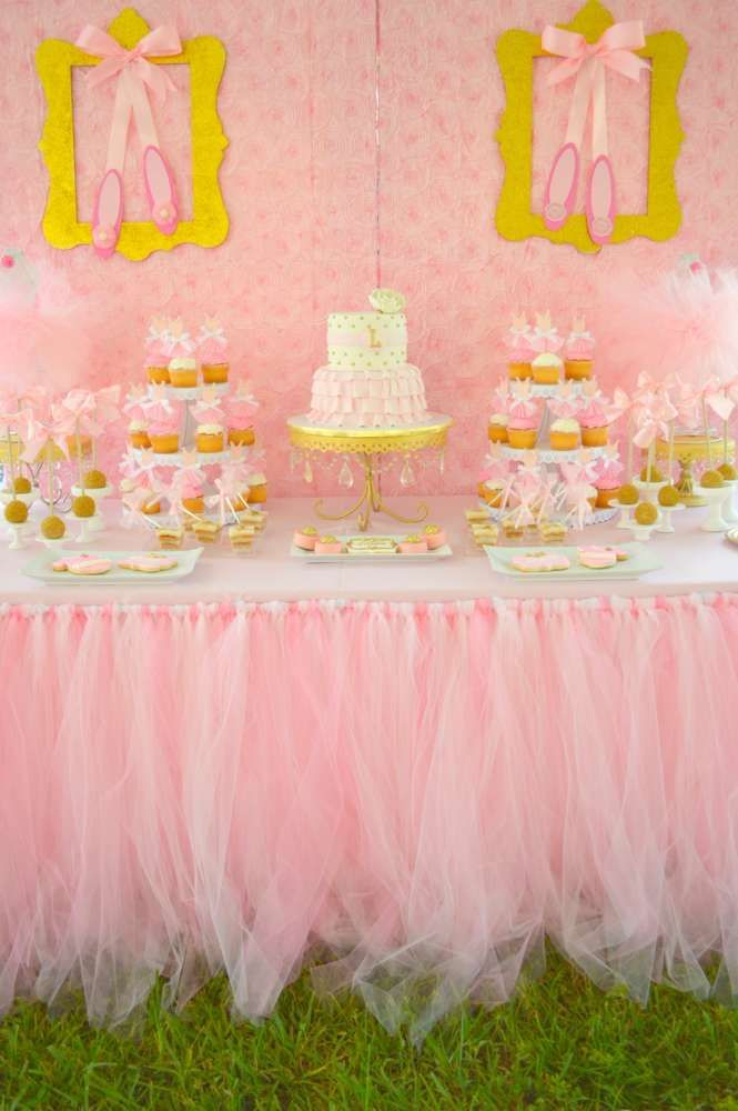Pretty pink dessert table and backdrop at a Ballet Baby Shower Party!  See more party planning ideas at CatchMyParty.com!