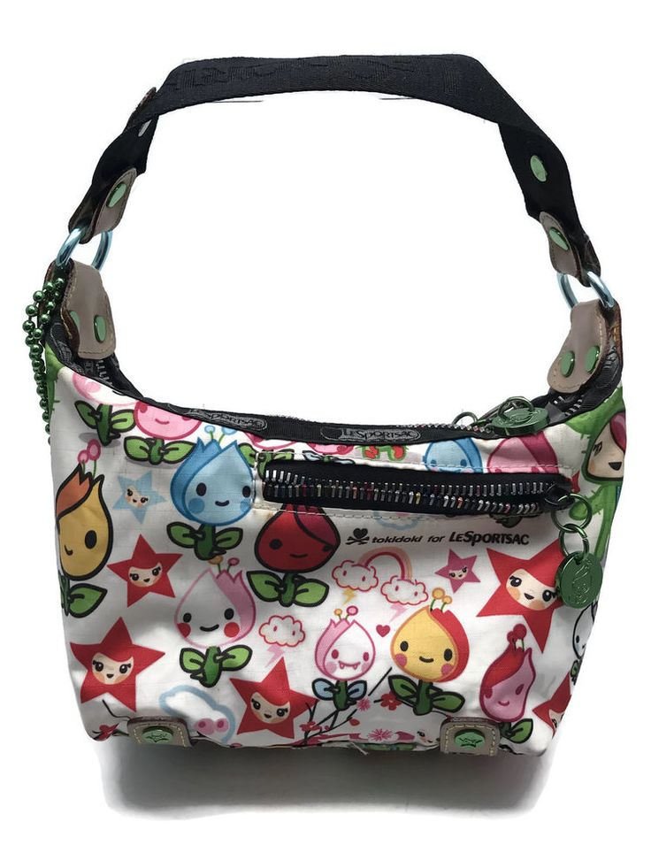 Le SportSac Tokidoki Original Print Small Handbag Rainbow Zip Dalek Qee Figure #LeSportSac #Hobo