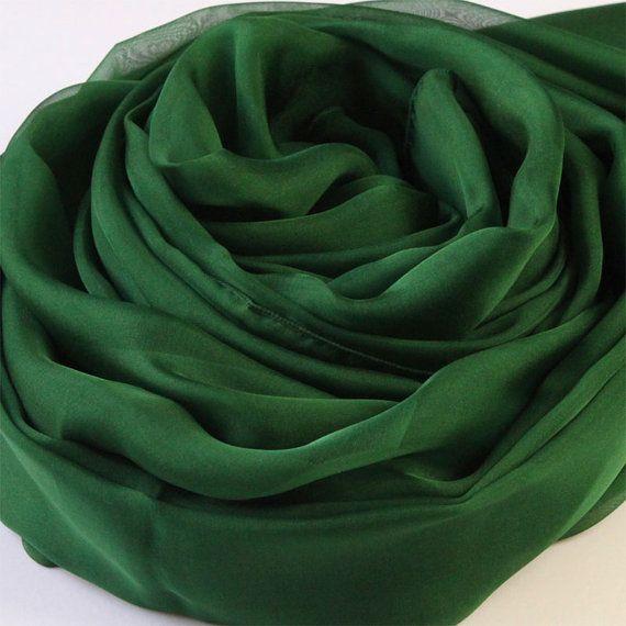 Dark Green Silk Scarf Dark Forest Green Silk Chiffon by RobePlus