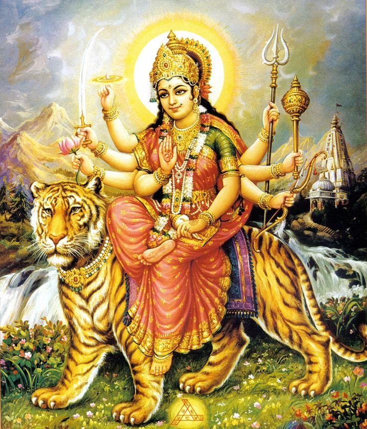 Durga--reading TIGER'S CURSE series and so I thought I'd look up Durga. I enjoyed seeing her dipicted as written in the book with her lei and trident, bow/arrow, sword & chakra.