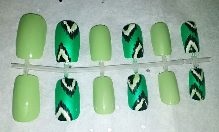Green Ikat Fake Nail Set- Press on Nails- Glue on Nails- Artificial Nails- Gifts for Her- Ikat Nails- Mix and Match Nails- Lime Nails by NailsBySammi on Etsy