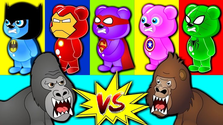 Finger Family Nursery Rhymes|Superhero Gummy bear Vs Crazy Gorilla|Gummi...