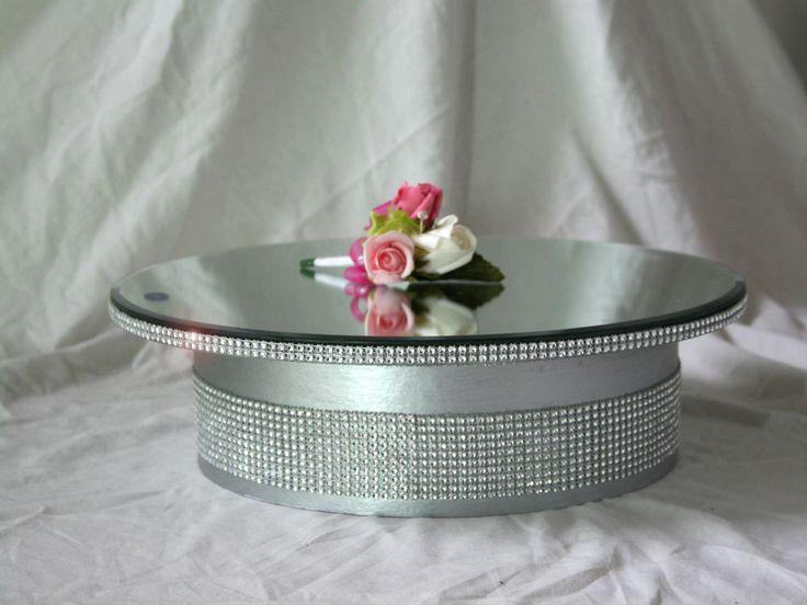 Round square gold silver mirror top diamante effect