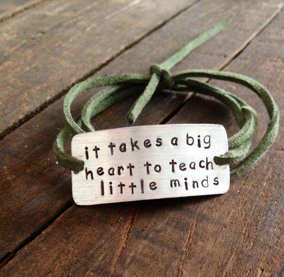 teacher gift, hand stamped bracelet, teachers gift, it takes a big heart to teach little minds, wrap bracelet, faux suede, teacher