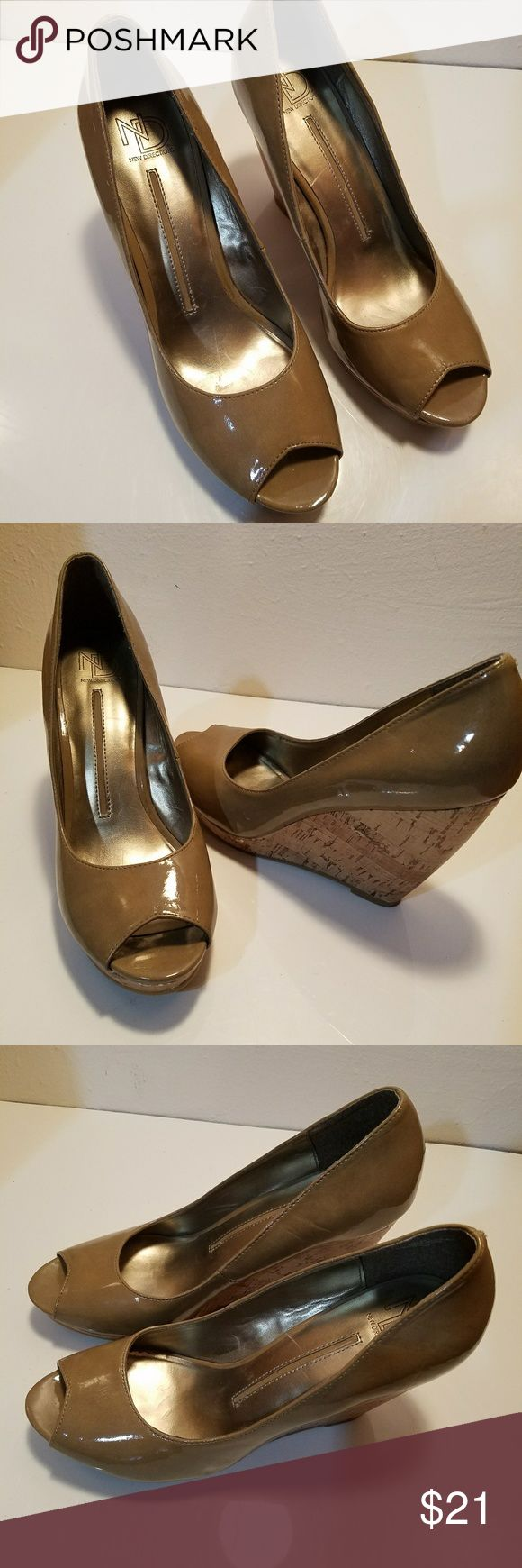 New Directions Patent Leather Peep Toe Wedges New Directions Patent Leather Peep Toe Wedges. Size 9M. 4 1/4 inch Heels. Excellent Condition. New Directions Shoes Wedges