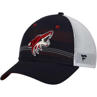 Men's Arizona Coyotes Fanatics Branded Black/White Iconic Grid Trucker Adjustable Hat