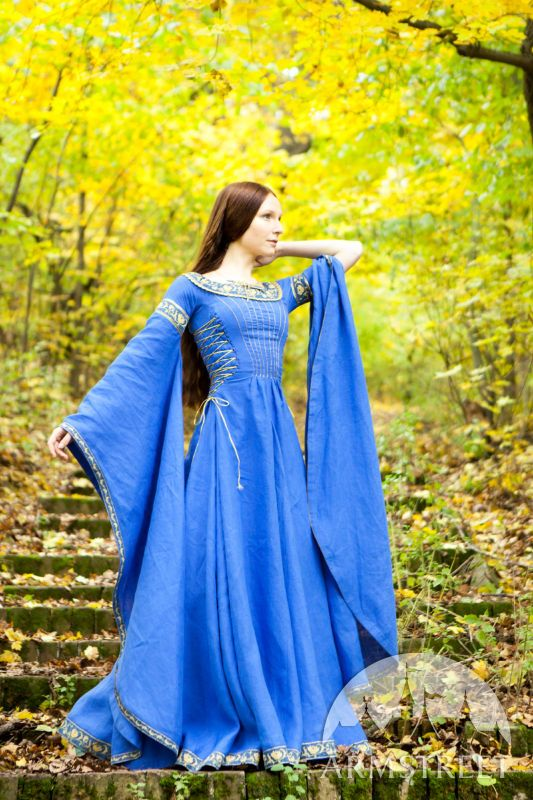 "$199 Medieval Dress ""Lady of the Lake"". Other colors. Cheap looking trim, but dress made of linen."