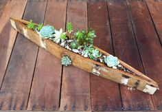 Wine Barrel Canoe Planter Box from Recycled Wine Barrel by PurpleThumbNotions