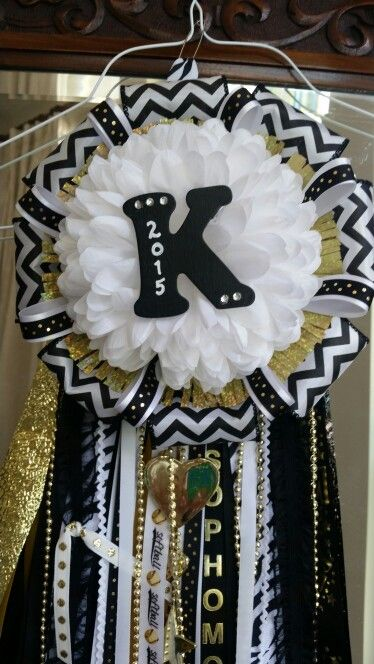 Black Gold Homecoming Mum:  First attempt at making HoCo mums. Made this one for Tate's Sophomore date.