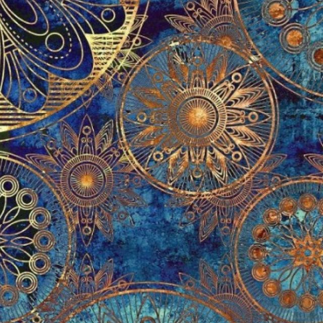 classy blue teal turquoise and gold wallpaper design