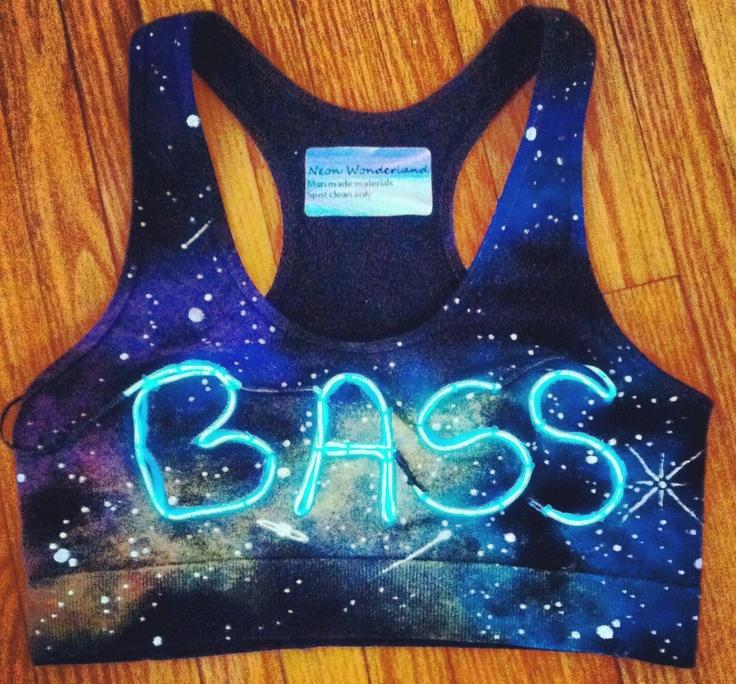 Light Up Bra // Bass in Space Sports Bra // Festival Top. $48.00, via Etsy.