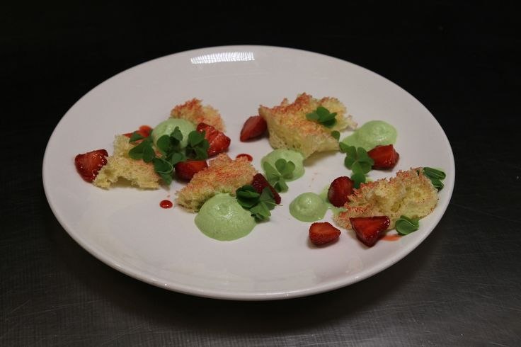 Behind the Scenes: Spain.   The finished product: Strawberry Shortcake with Micro Sponge Cake