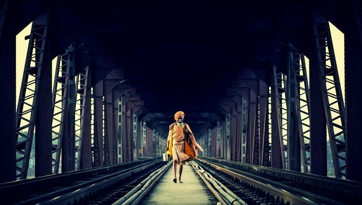 Baba on the bridge in Varanasi .India
