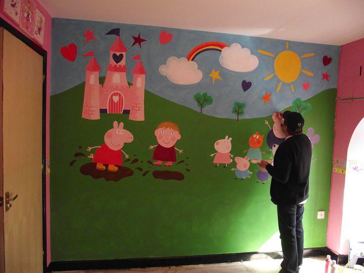 Peppa pig mural.