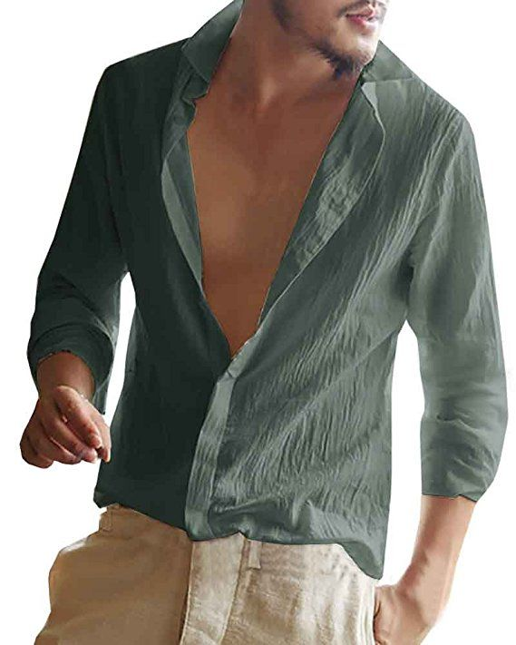 YOMISOY Mens Shirts Long Sleeve Summer Casual Button Down Slim Fit Linen Shirts