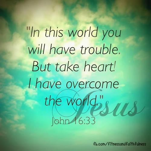 """""""These things I have spoken to you, so that in Me you may have peace. In the world you have tribulation, but take courage; I have overcome the world."""" -John 16:33"""