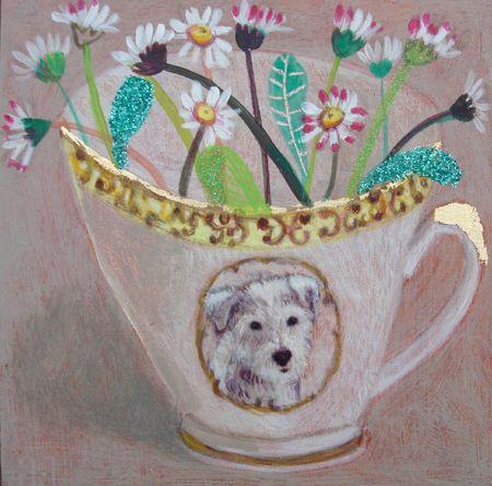 Andrea Letterie, Daisies and bear, Gemengde techniek op paneel, 15x15 cm, €.225,-