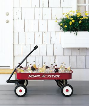 The perfect beverage cart for a backyard movie night.