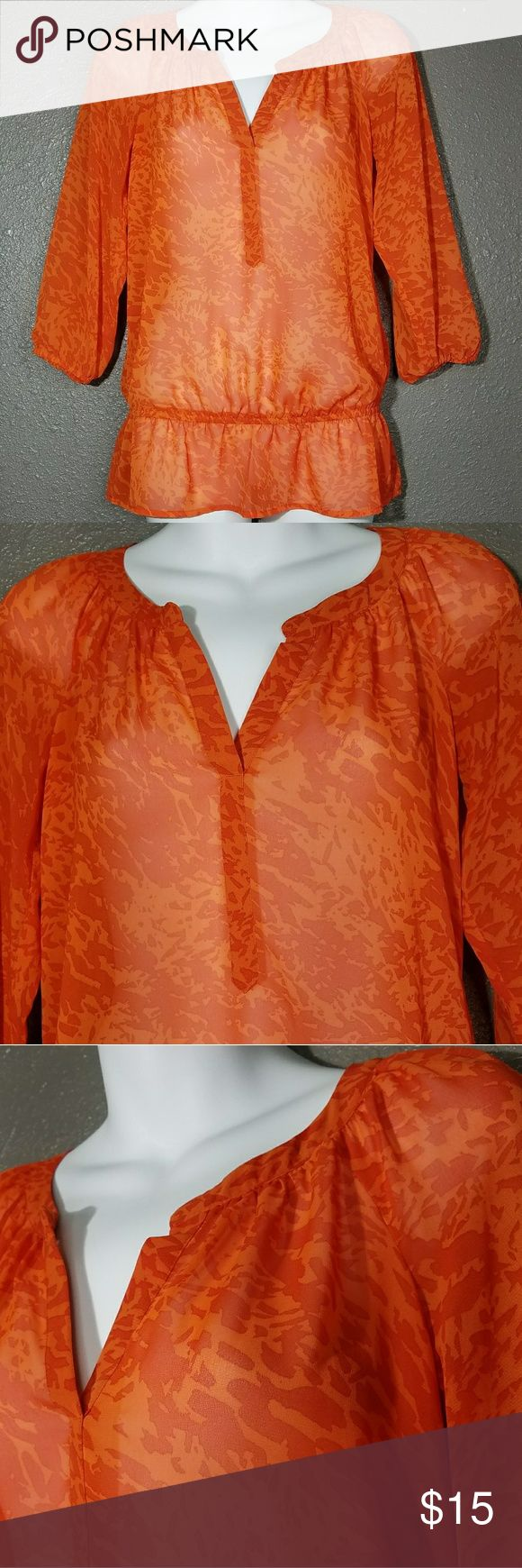 "Ann Taylor LOFT XXSP Petite Orange 2XSP Ann Taylor LOFT XXSP Petite Blouse Top Orange Loose Lightweight Semi Sheer 2XSP   Excellent used condition!    Flat Lay Measurements Unstretched  Underarm to underarm: 19""  Length: 26""   Comes from a smoke and pet free home!  Ann Taylor Tops"