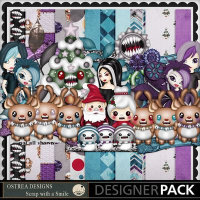 Kit name -  Scary Christmas - Theme elements christmas characters with crazy evil mouths. https://www.mymemories.com/store/display_product_page?id=TFOS-CP-1611-116681&r=ostrea_designs