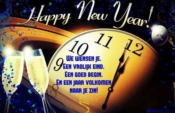 Happy New Year! We wensen je een vrolijk eind, een goed begin, en een jaar volkomen naar je zin!