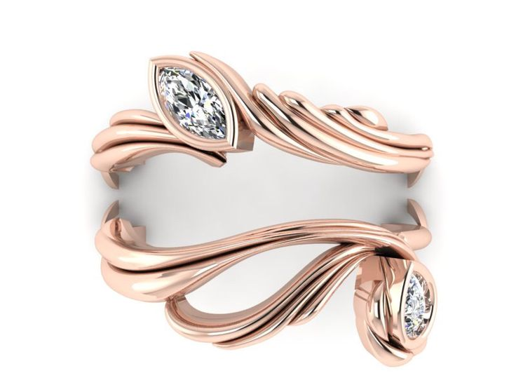 Wedding Ring Bands >> Ring Enhancer, Diamond Wedding ring guard, Asymmetrical rings, 14k Rose Gold Wedding bands ...