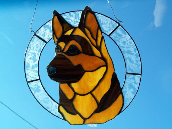 German Shepherd stained glass by TheSpanishDragon on Etsy, $80.00
