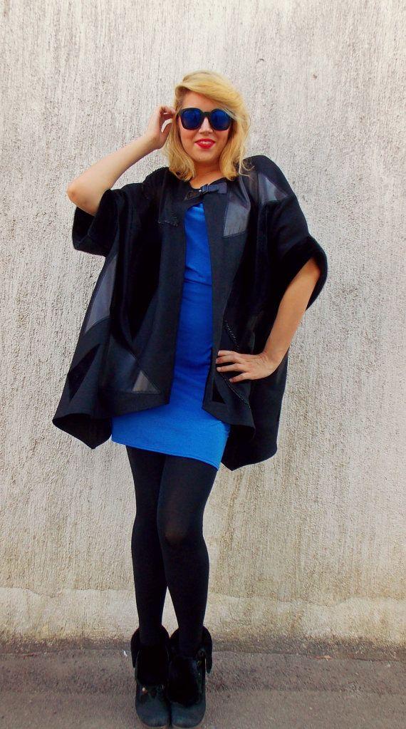Black Plus Size Coat / Black Wool Leather Block Coat TC24 https://www.etsy.com/listing/202802627/black-plus-size-coat-black-wool-leather?utm_campaign=crowdfire&utm_content=crowdfire&utm_medium=social&utm_source=pinterest