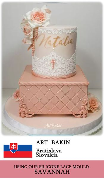Crystal Candy's SAVANNAH silicone lace mould used to make beautiful edible lace for this cake. www.crystalcandy.co.za