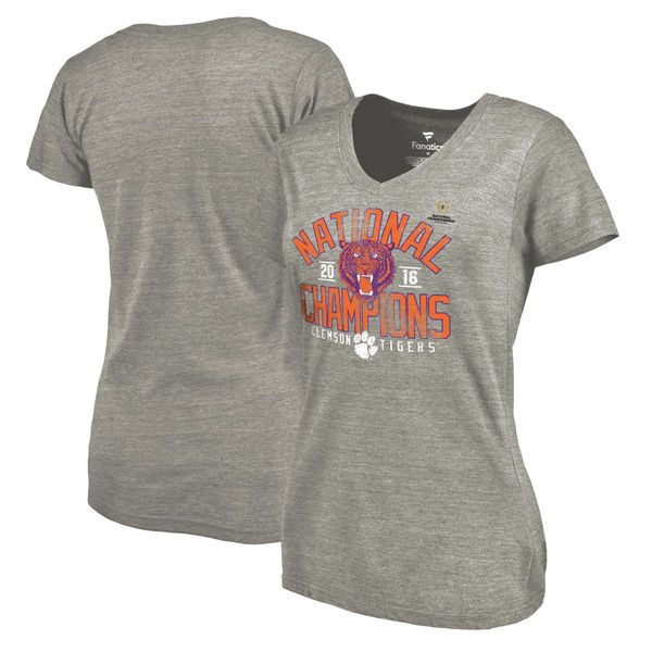 Clemson Tigers Fanatics Branded Women's College Football Playoff 2016 National Champions Screen Pass Tri-Blend V-Neck T-Shirt - Heathered Gray - $29.99