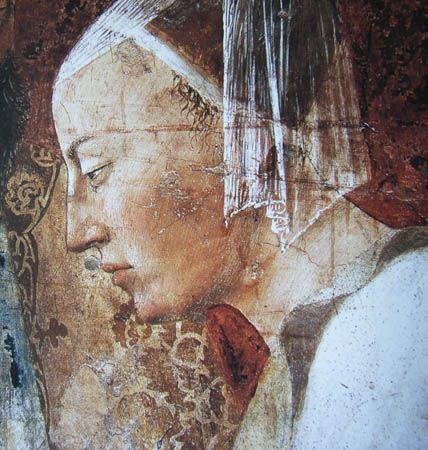 Piero della Francesca - Storie della Vera Croce: Incontro di Salomone con la regina di Saba, dettaglio la regina di Saba - affresco - 1452-1466 - Arezzo, Basilica di San Francesco, Cappella Maggiore