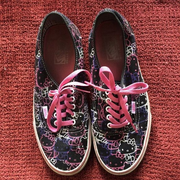 Vans Hello Kitty lace-ups Previously loved Hello Kitty Vans. In great condition. Vans Shoes Sneakers