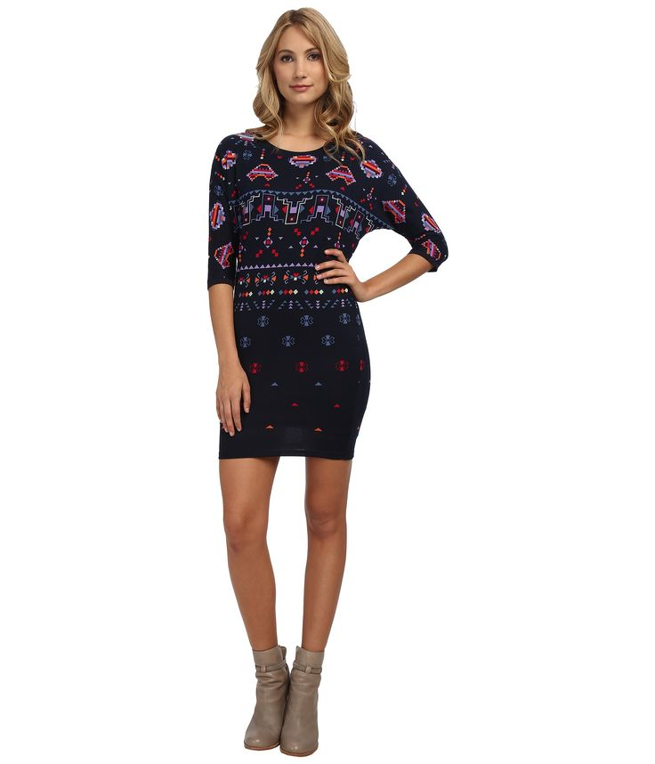 Navy blue dress with tribal print