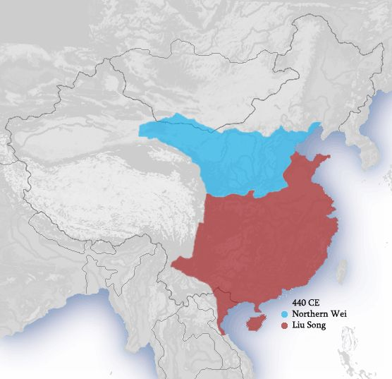 Approximate territories of the Northern Wei (blue) and Liu Song (maroon) states in 440 AD.