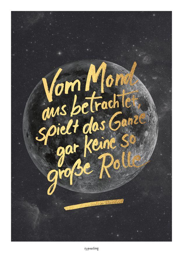 Originaldruck - Kunstdruck Poster / Mond 2 (Fake Gold) - ein Designerstück von typealive bei DaWanda