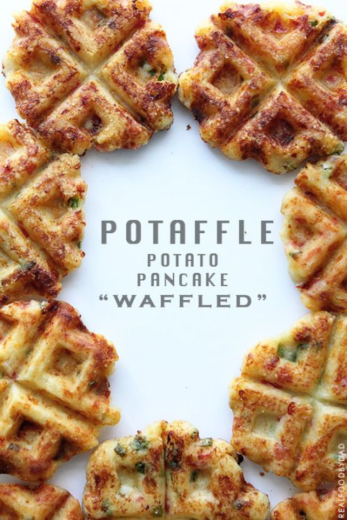 "Potaffle - Potato Pancake ""waffled"". Instead of cheese I might use Daiya :)"
